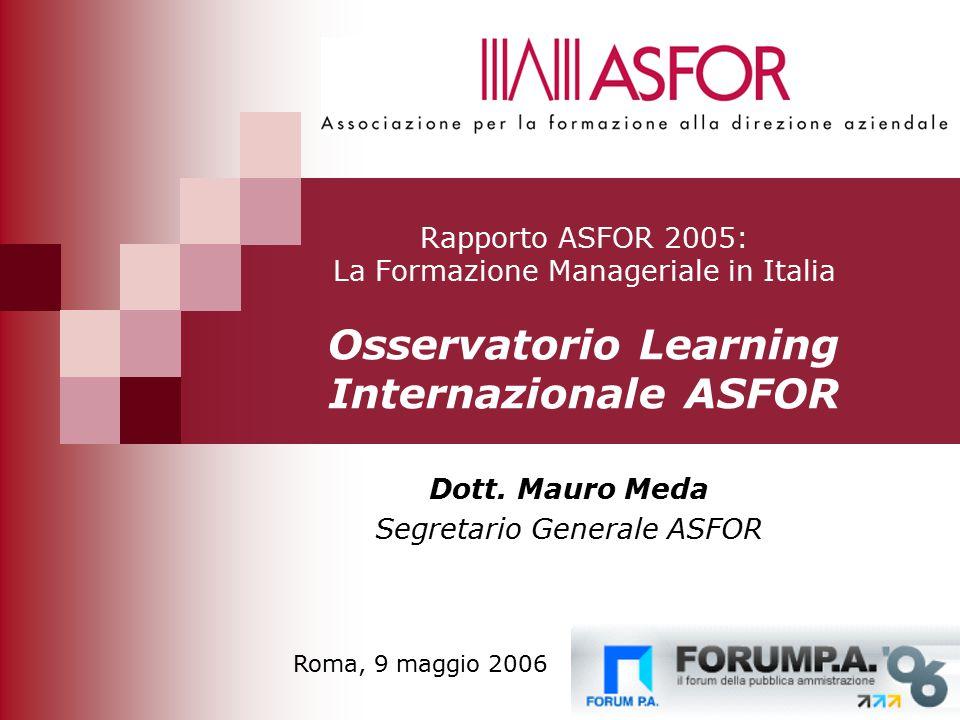46 Rapporto ASFOR 2005: La Formazione Manageriale in Italia Osservatorio Learning Internazionale ASFOR Dott.