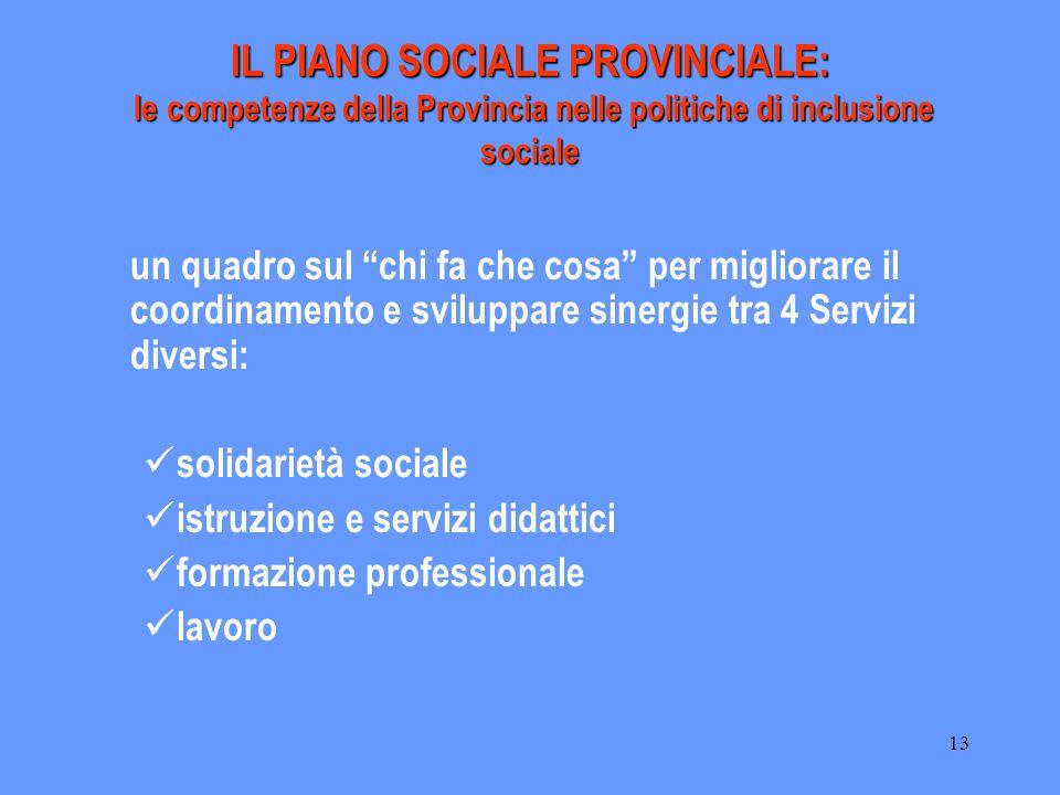 """13 IL PIANO SOCIALE PROVINCIALE: le competenze della Provincia nelle politiche di inclusione sociale un quadro sul """"chi fa che cosa"""" per migliorare il"""