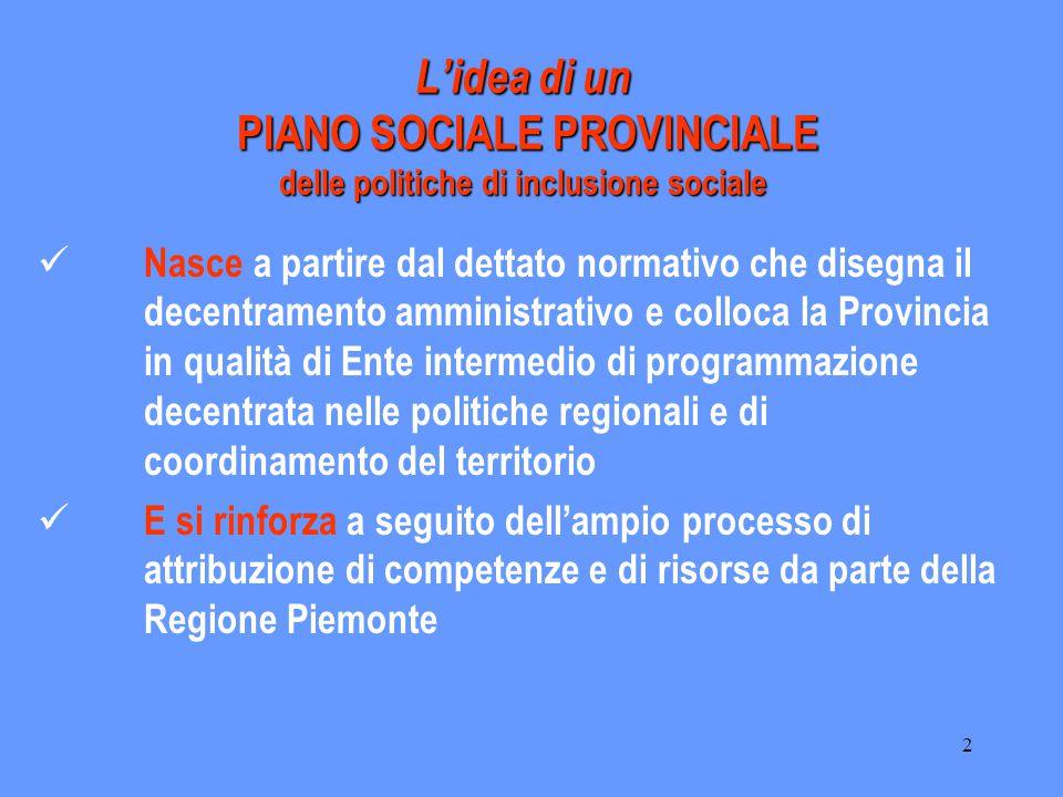 2 L'idea di un PIANO SOCIALE PROVINCIALE delle politiche di inclusione sociale Nasce a partire dal dettato normativo che disegna il decentramento ammi