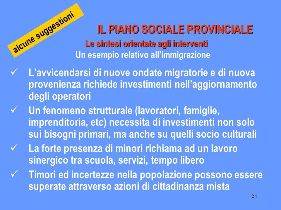 24 IL PIANO SOCIALE PROVINCIALE Le sintesi orientate agli interventi IL PIANO SOCIALE PROVINCIALE Le sintesi orientate agli interventi Un esempio rela
