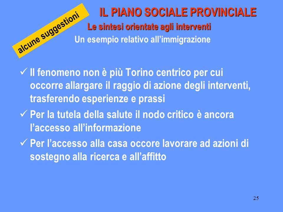 25 IL PIANO SOCIALE PROVINCIALE Le sintesi orientate agli interventi IL PIANO SOCIALE PROVINCIALE Le sintesi orientate agli interventi Un esempio rela