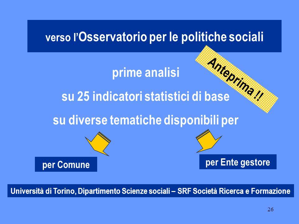 26 verso l' Osservatorio per le politiche sociali per Comune per Ente gestore prime analisi su 25 indicatori statistici di base su diverse tematiche disponibili per Anteprima !.