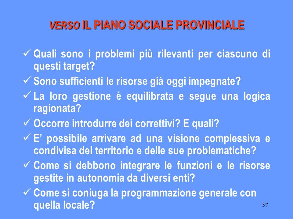 37 VERSO IL PIANO SOCIALE PROVINCIALE Quali sono i problemi più rilevanti per ciascuno di questi target.