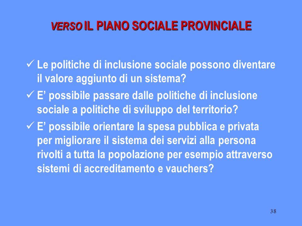 38 Le politiche di inclusione sociale possono diventare il valore aggiunto di un sistema? E' possibile passare dalle politiche di inclusione sociale a