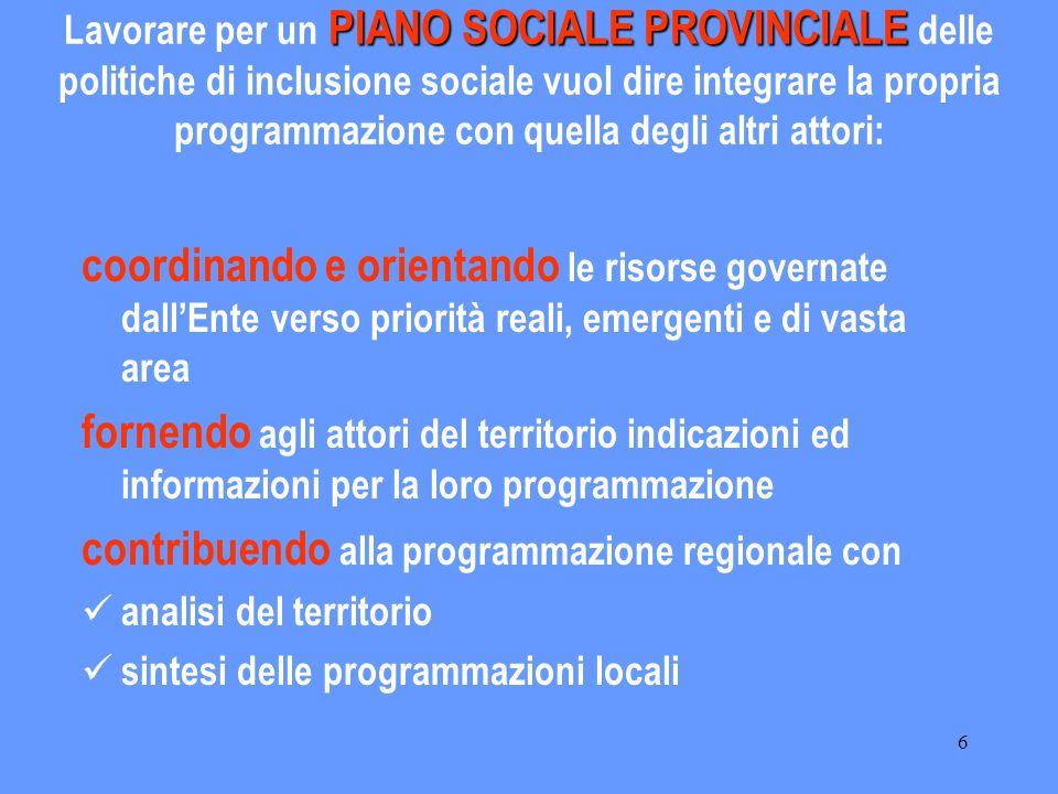 6 PIANO SOCIALE PROVINCIALE Lavorare per un PIANO SOCIALE PROVINCIALE delle politiche di inclusione sociale vuol dire integrare la propria programmazi