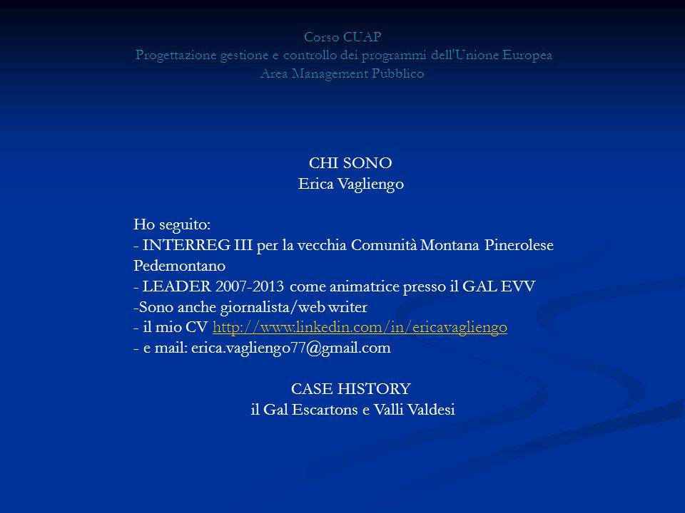 Corso CUAP Progettazione gestione e controllo dei programmi dell Unione Europea Area Management Pubblico CHI SONO Erica Vagliengo Ho seguito: - INTERREG III per la vecchia Comunità Montana Pinerolese Pedemontano - LEADER 2007-2013 come animatrice presso il GAL EVV -Sono anche giornalista/web writer - il mio CV http://www.linkedin.com/in/ericavagliengohttp://www.linkedin.com/in/ericavagliengo - e mail: erica.vagliengo77@gmail.com CASE HISTORY il Gal Escartons e Valli Valdesi