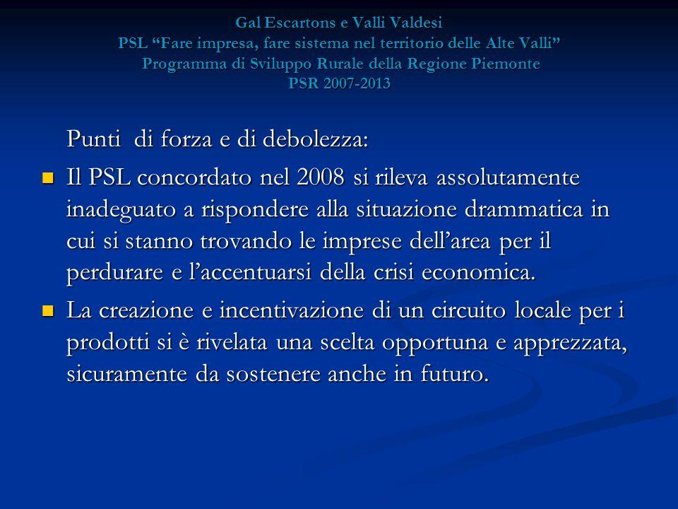 Gal Escartons e Valli Valdesi PSL Fare impresa, fare sistema nel territorio delle Alte Valli Programma di Sviluppo Rurale della Regione Piemonte PSR 2007-2013 Punti di forza e di debolezza: Il PSL concordato nel 2008 si rileva assolutamente inadeguato a rispondere alla situazione drammatica in cui si stanno trovando le imprese dell'area per il perdurare e l'accentuarsi della crisi economica.