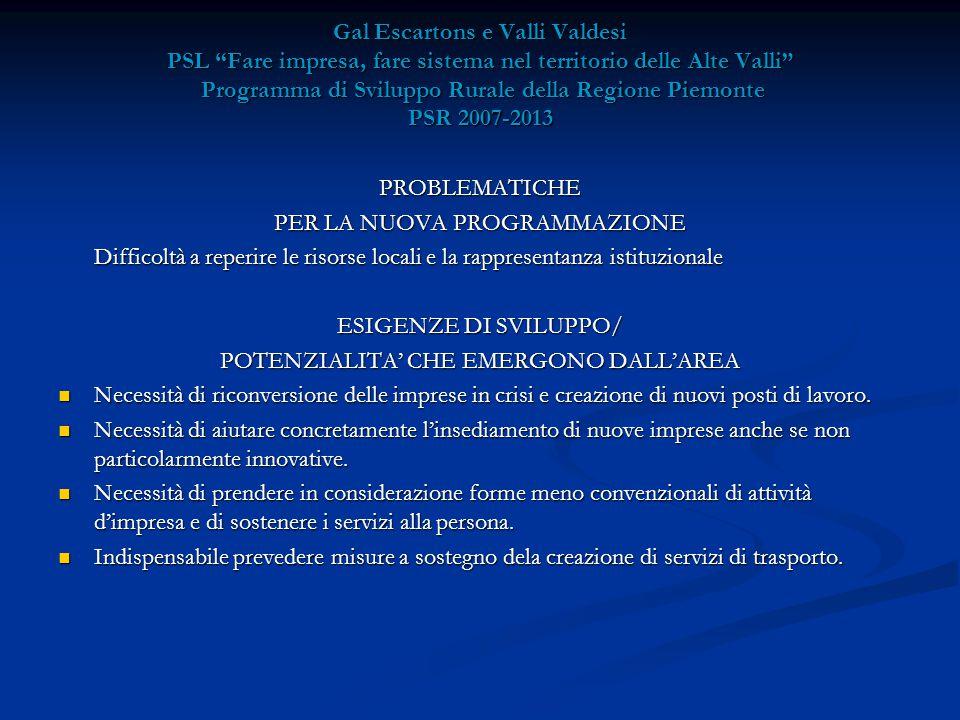 Gal Escartons e Valli Valdesi PSL Fare impresa, fare sistema nel territorio delle Alte Valli Programma di Sviluppo Rurale della Regione Piemonte PSR 2007-2013 PROBLEMATICHE PER LA NUOVA PROGRAMMAZIONE Difficoltà a reperire le risorse locali e la rappresentanza istituzionale ESIGENZE DI SVILUPPO/ POTENZIALITA' CHE EMERGONO DALL'AREA Necessità di riconversione delle imprese in crisi e creazione di nuovi posti di lavoro.
