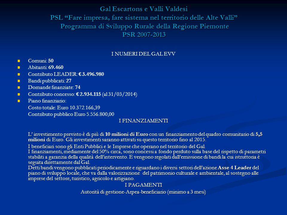 Gal Escartons e Valli Valdesi PSL Fare impresa, fare sistema nel territorio delle Alte Valli Programma di Sviluppo Rurale della Regione Piemonte PSR 2007-2013 I NUMERI DEL GAL EVV Comuni: 50 Abitanti: 69.460 Contributo LEADER: € 3.496.980 Bandi pubblicati: 27 Domande finanziate: 74 Contributo concesso: € 2.934.115 (al 31/03/2014) Piano finanziario: Costo totale: Euro 10.372.166,39 Contributo pubblico Euro 5.556.800,00 I FINANZIAMENTI L' investimento previsto è di più di 10 milioni di Euro con un finanziamento del quadro comunitario di 5,5 milioni di Euro.