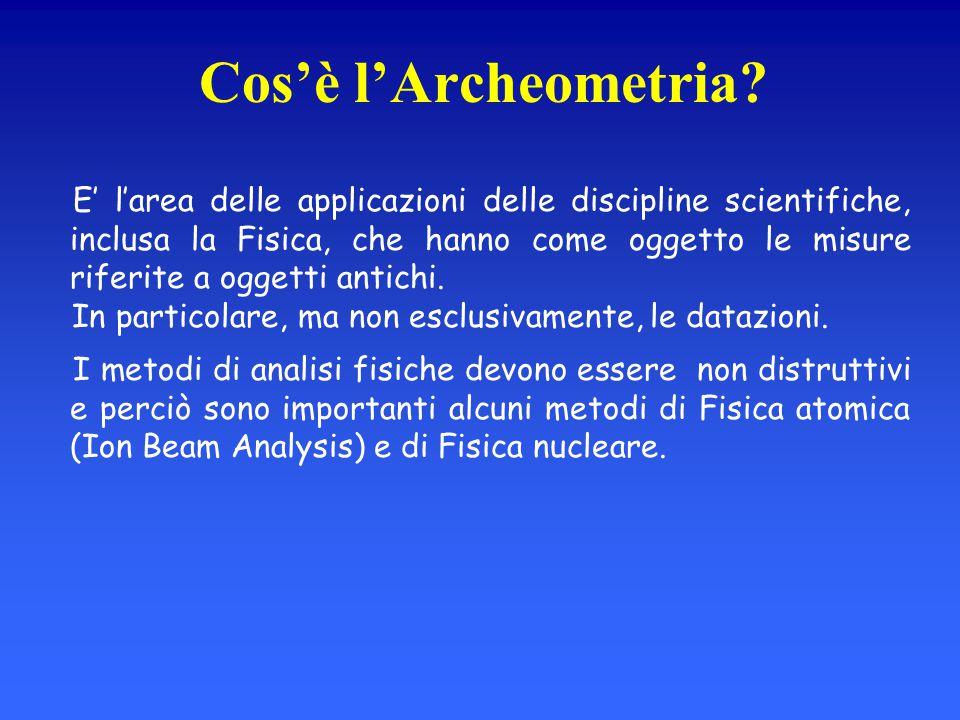 Cos'è l'Archeometria? E' l'area delle applicazioni delle discipline scientifiche, inclusa la Fisica, che hanno come oggetto le misure riferite a ogget