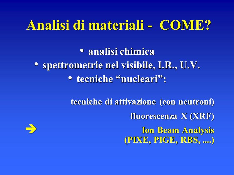 """Analisi di materiali - COME? analisi chimica analisi chimica spettrometrie nel visibile, I.R., U.V. spettrometrie nel visibile, I.R., U.V. tecniche """"n"""