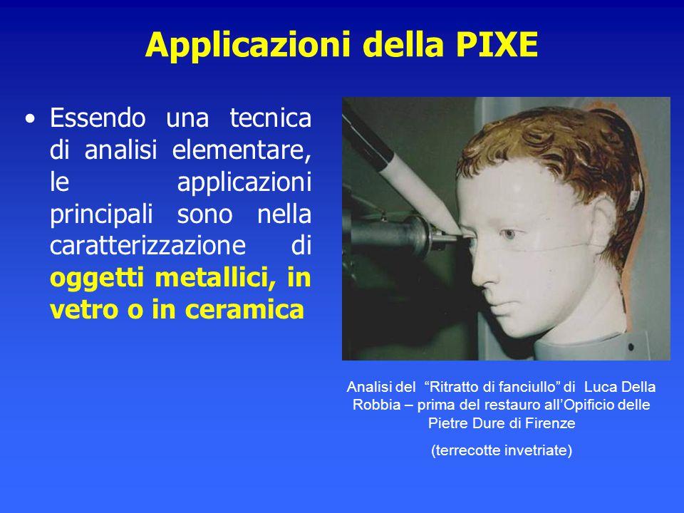 Applicazioni della PIXE Essendo una tecnica di analisi elementare, le applicazioni principali sono nella caratterizzazione di oggetti metallici, in ve