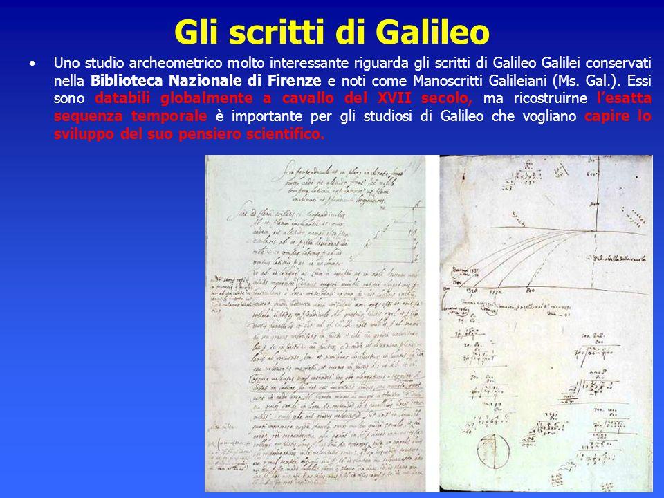 Gli scritti di Galileo Uno studio archeometrico molto interessante riguarda gli scritti di Galileo Galilei conservati nella Biblioteca Nazionale di Fi