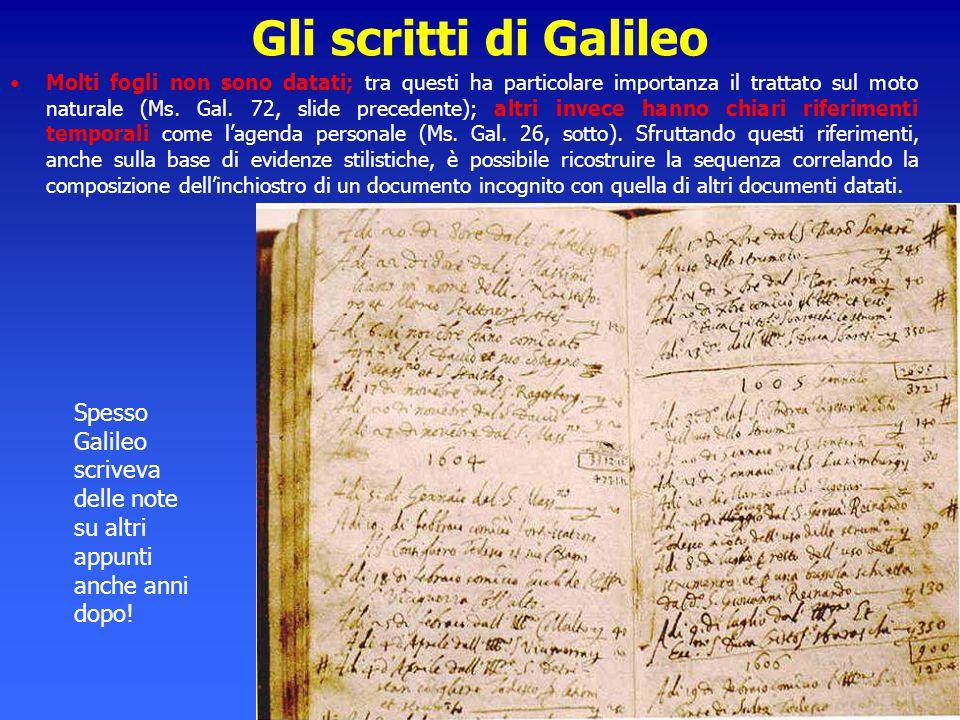 Gli scritti di Galileo Molti fogli non sono datati; tra questi ha particolare importanza il trattato sul moto naturale (Ms. Gal. 72, slide precedente)