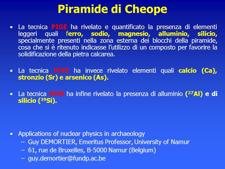 Piramide di Cheope La tecnica PIGE ha rivelato e quantificato la presenza di elementi leggeri quali ferro, sodio, magnesio, alluminio, silicio, specia