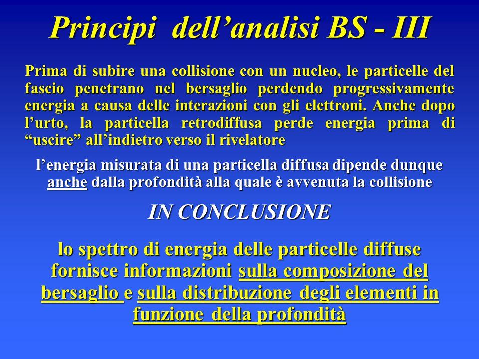 Principi dell'analisi BS - III Prima di subire una collisione con un nucleo, le particelle del fascio penetrano nel bersaglio perdendo progressivament