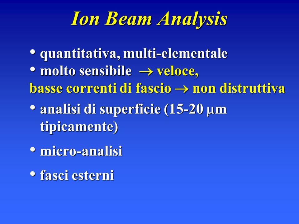 Ion Beam Analysis quantitativa, multi-elementale quantitativa, multi-elementale molto sensibile  veloce, molto sensibile  veloce, basse correnti di