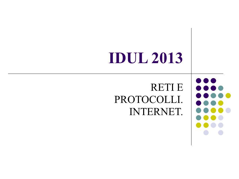 IDUL 2013 RETI E PROTOCOLLI. INTERNET.