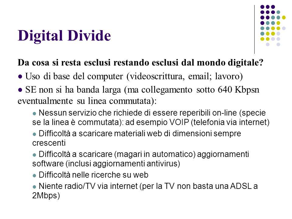 Digital Divide Da cosa si resta esclusi restando esclusi dal mondo digitale.