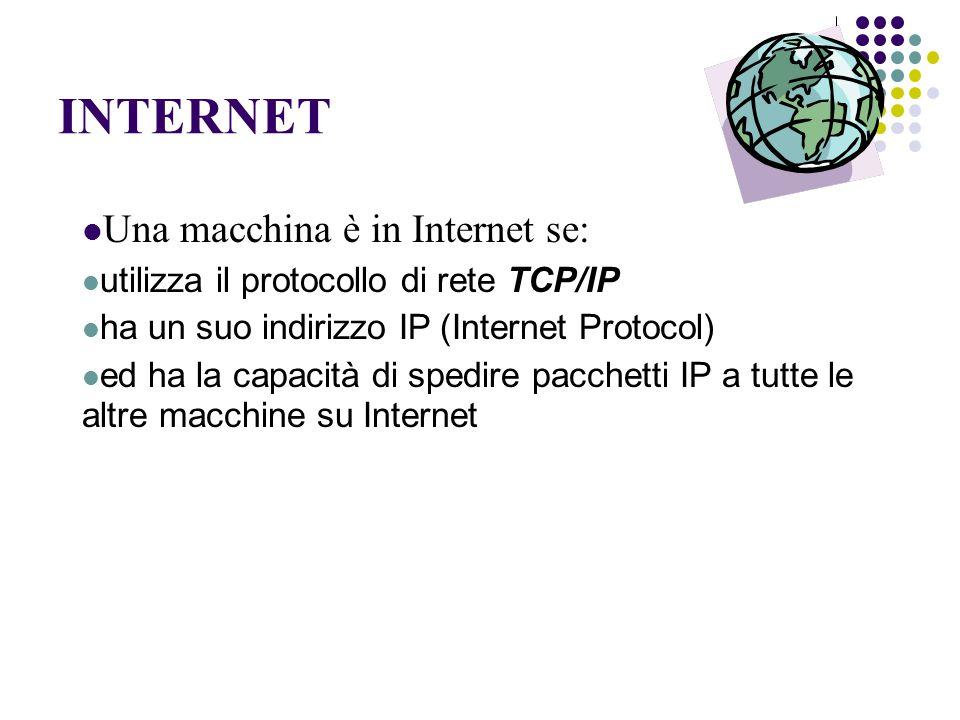 INTERNET Una macchina è in Internet se: utilizza il protocollo di rete TCP/IP ha un suo indirizzo IP (Internet Protocol) ed ha la capacità di spedire pacchetti IP a tutte le altre macchine su Internet