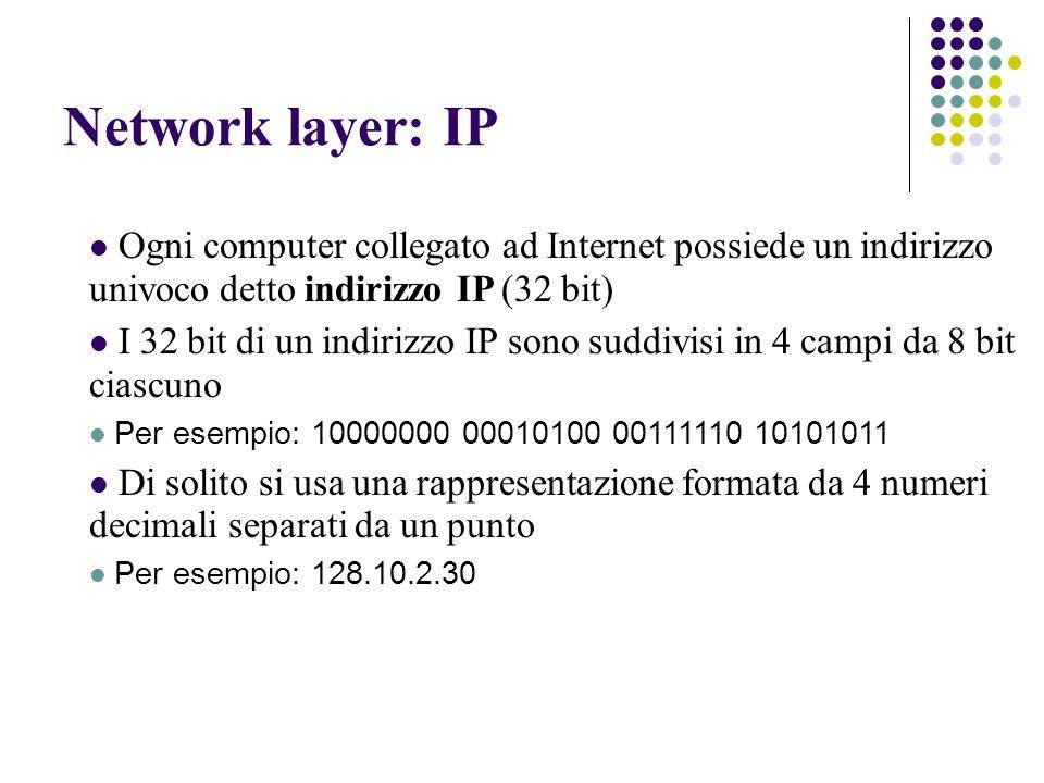 Network layer: IP Ogni computer collegato ad Internet possiede un indirizzo univoco detto indirizzo IP (32 bit) I 32 bit di un indirizzo IP sono suddivisi in 4 campi da 8 bit ciascuno Per esempio: 10000000 00010100 00111110 10101011 Di solito si usa una rappresentazione formata da 4 numeri decimali separati da un punto Per esempio: 128.10.2.30