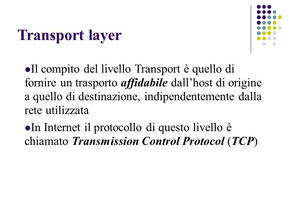 Transport layer Il compito del livello Transport è quello di fornire un trasporto affidabile dall'host di origine a quello di destinazione, indipendentemente dalla rete utilizzata In Internet il protocollo di questo livello è chiamato Transmission Control Protocol (TCP)