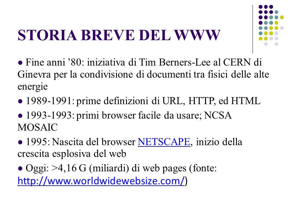 STORIA BREVE DEL WWW Fine anni '80: iniziativa di Tim Berners-Lee al CERN di Ginevra per la condivisione di documenti tra fisici delle alte energie 1989-1991: prime definizioni di URL, HTTP, ed HTML 1993-1993: primi browser facile da usare; NCSA MOSAIC 1995: Nascita del browser NETSCAPE, inizio della crescita esplosiva del webNETSCAPE Oggi: >4,16 G (miliardi) di web pages (fonte: http://www.worldwidewebsize.com/) http://www.worldwidewebsize.com/