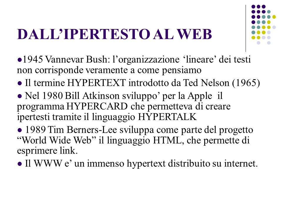 DALL'IPERTESTO AL WEB 1945 Vannevar Bush: l'organizzazione 'lineare' dei testi non corrisponde veramente a come pensiamo Il termine HYPERTEXT introdotto da Ted Nelson (1965) Nel 1980 Bill Atkinson sviluppo' per la Apple il programma HYPERCARD che permetteva di creare ipertesti tramite il linguaggio HYPERTALK 1989 Tim Berners-Lee sviluppa come parte del progetto World Wide Web il linguaggio HTML, che permette di esprimere link.