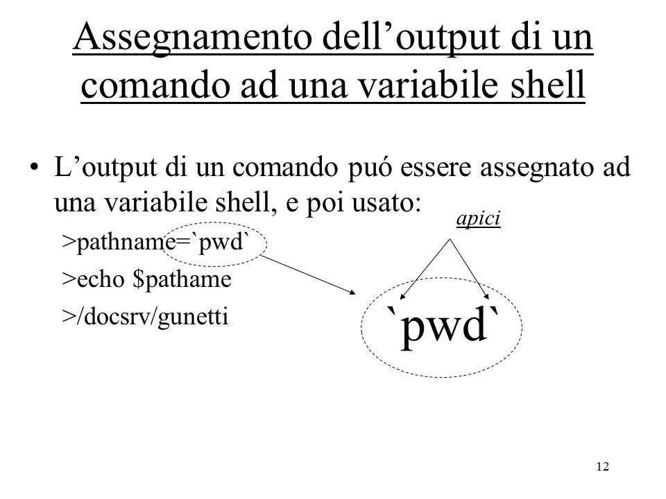 12 Assegnamento dell'output di un comando ad una variabile shell L'output di un comando puó essere assegnato ad una variabile shell, e poi usato: >pathname=`pwd` >echo $pathame >/docsrv/gunetti `pwd` apici