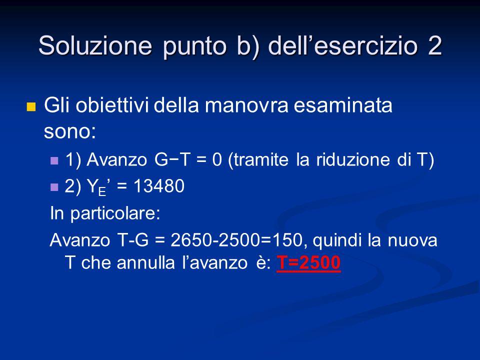 Gli obiettivi della manovra esaminata sono: 1) Avanzo G−Τ = 0 (tramite la riduzione di T) 2) Y E ' = 13480 In particolare: Avanzo Τ-G = 2650-2500=150,