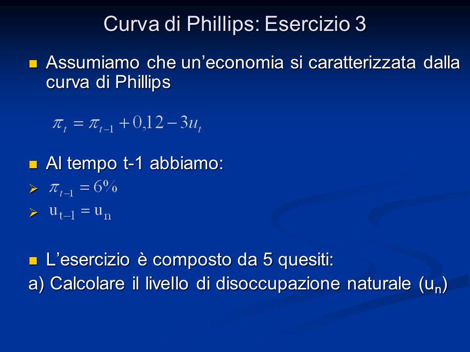 Curva di Phillips: Esercizio 3 Assumiamo che un'economia si caratterizzata dalla curva di Phillips Assumiamo che un'economia si caratterizzata dalla c