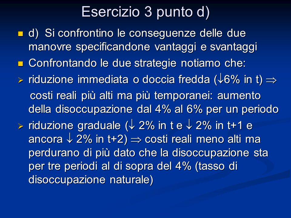 Esercizio 3 punto d) d) Si confrontino le conseguenze delle due manovre specificandone vantaggi e svantaggi d) Si confrontino le conseguenze delle due