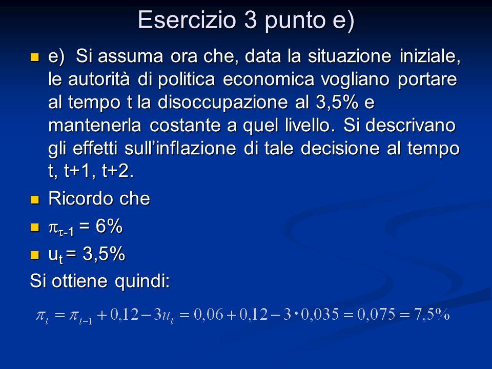 Esercizio 3 punto e) e) Si assuma ora che, data la situazione iniziale, le autorità di politica economica vogliano portare al tempo t la disoccupazion