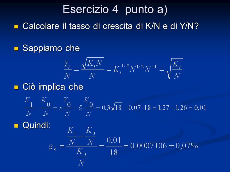 Esercizio 4 punto a) Calcolare il tasso di crescita di K/N e di Y/N? Calcolare il tasso di crescita di K/N e di Y/N? Sappiamo che Sappiamo che Ciò imp