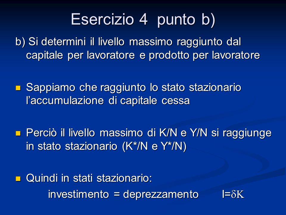 Esercizio 4 punto b) b) Si determini il livello massimo raggiunto dal capitale per lavoratore e prodotto per lavoratore Sappiamo che raggiunto lo stat