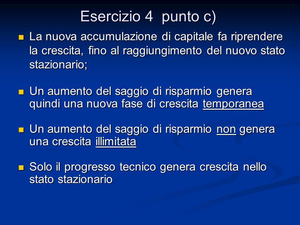 Esercizio 4 punto c) La nuova accumulazione di capitale fa riprendere la crescita, fino al raggiungimento del nuovo stato stazionario; La nuova accumu