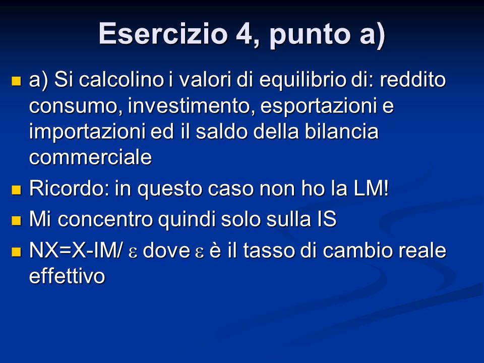 Esercizio 4, punto a) a) Si calcolino i valori di equilibrio di: reddito consumo, investimento, esportazioni e importazioni ed il saldo della bilancia