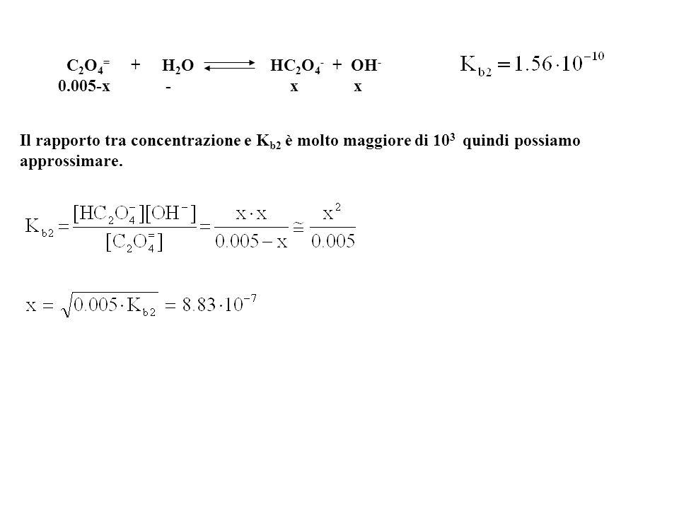 D7-7 I valori di K 1 e K 2 dell'acido ossalico, sono rispettivamente 5.9·10 -2 e 6.4·10 -5. Qual è la concentrazione di [OH - ] di una soluzione di os