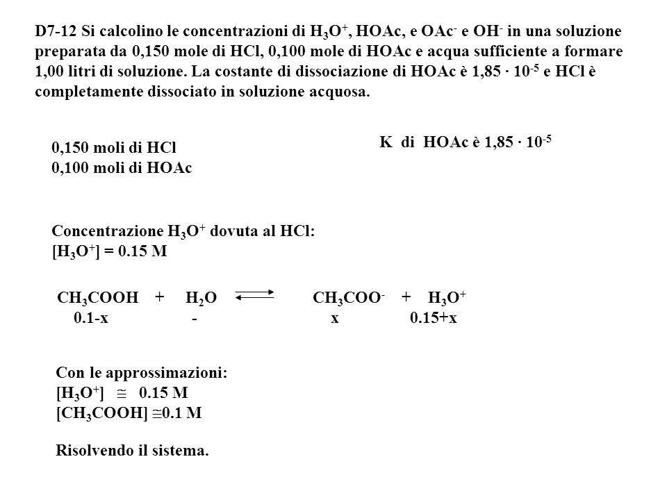 Soluzione esatta x = 0.00126 [H 3 O+] = 0.00126 M [HCO 2 H] = 0.01-0.00126 = 8.74·10 -3 M [HCO 2 - ] = 0.00126 M [OH - ] = 1·10 -14 /0.00126 = 7.9·10