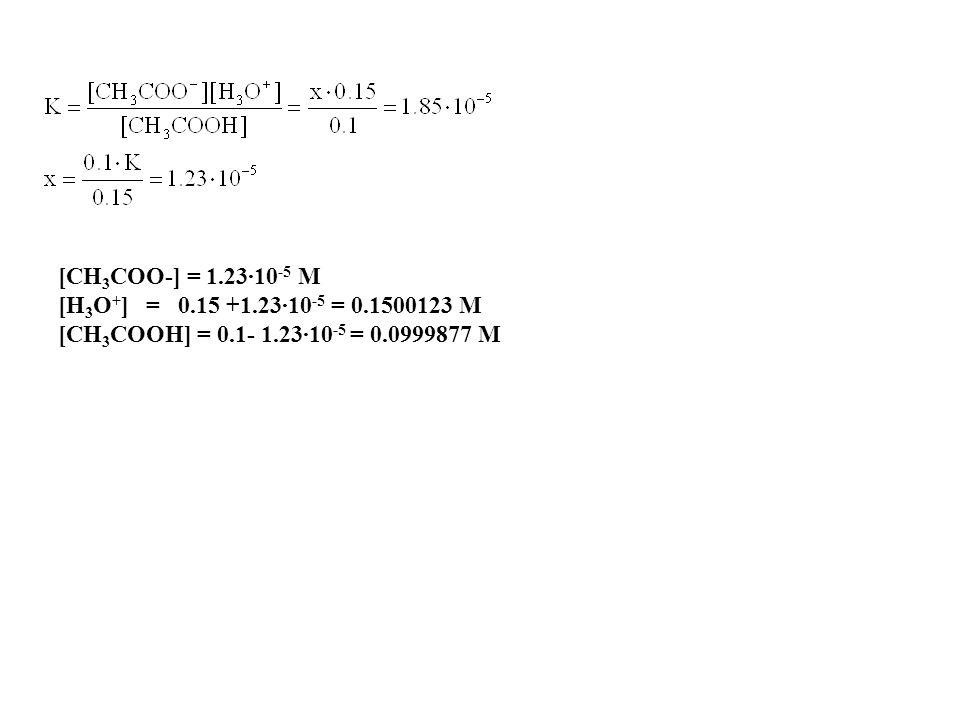 D7-12 Si calcolino le concentrazioni di H 3 O +, HOAc, e OAc - e OH - in una soluzione preparata da 0,150 mole di HCl, 0,100 mole di HOAc e acqua suff