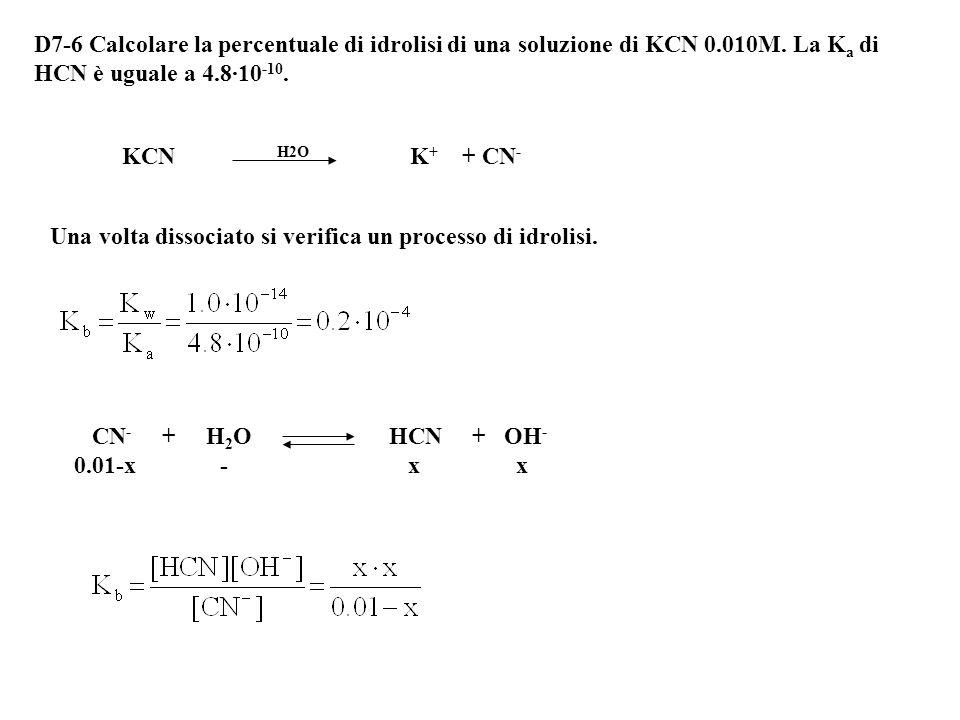 Alla fine si ha una soluzione 0.01 M di ione acetato e 0.01 M di acido acetico. Questa è esattamente una soluzione tampone. CH 3 COOH + H 2 O CH 3 COO