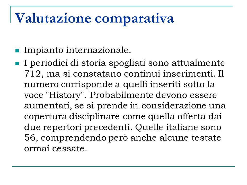 Valutazione comparativa Impianto internazionale.