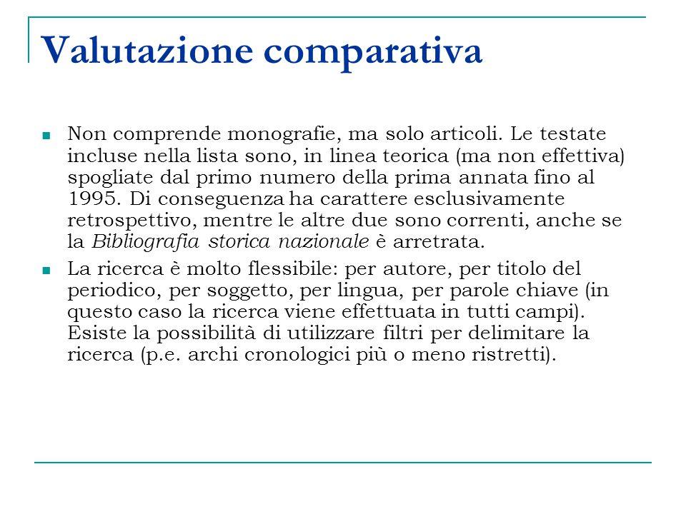 Valutazione comparativa Non comprende monografie, ma solo articoli.