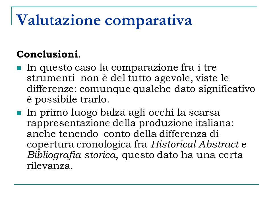 Valutazione comparativa Conclusioni.