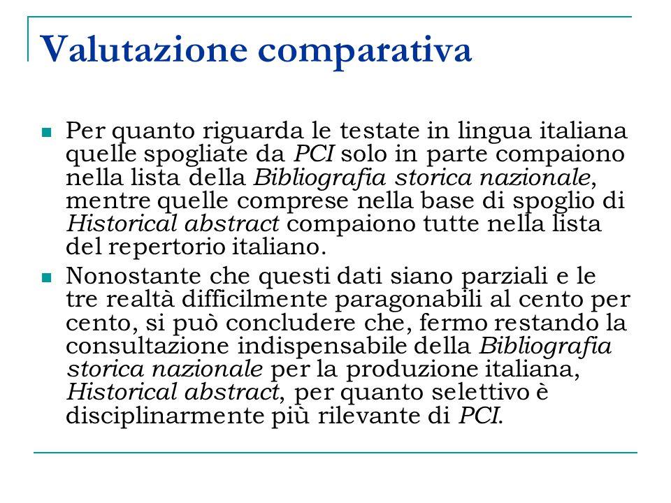 Valutazione comparativa Per quanto riguarda le testate in lingua italiana quelle spogliate da PCI solo in parte compaiono nella lista della Bibliografia storica nazionale, mentre quelle comprese nella base di spoglio di Historical abstract compaiono tutte nella lista del repertorio italiano.