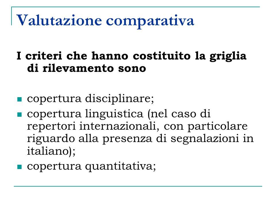 Valutazione comparativa I criteri che hanno costituito la griglia di rilevamento sono copertura disciplinare; copertura linguistica (nel caso di repertori internazionali, con particolare riguardo alla presenza di segnalazioni in italiano); copertura quantitativa;