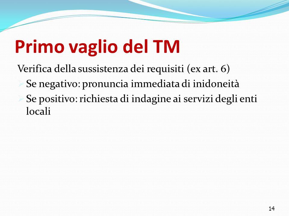 Primo vaglio del TM Verifica della sussistenza dei requisiti (ex art. 6)  Se negativo: pronuncia immediata di inidoneità  Se positivo: richiesta di