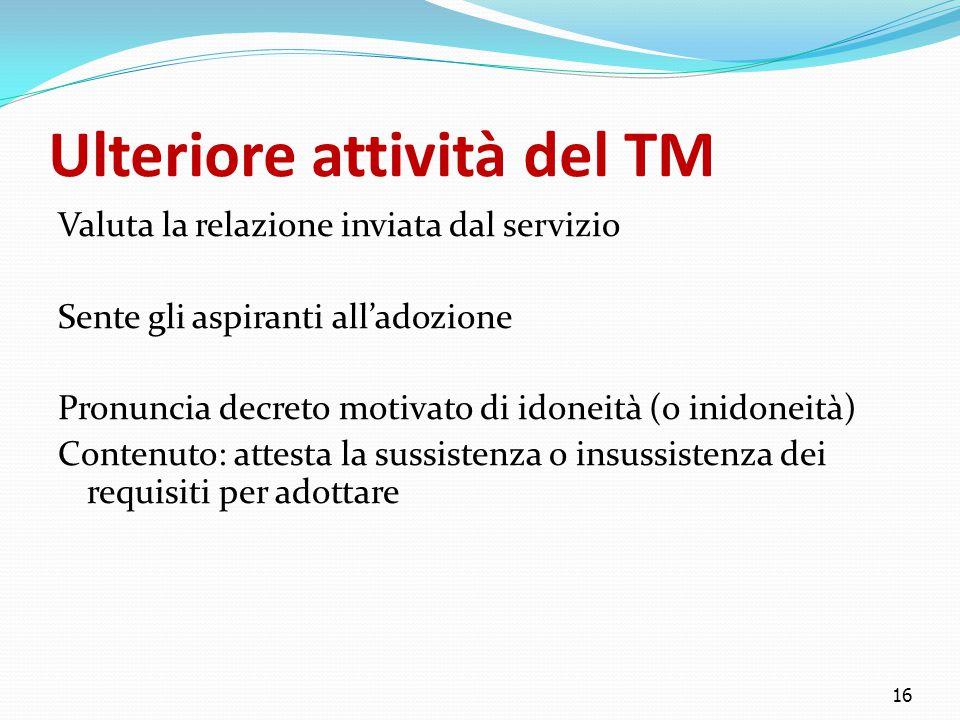 Ulteriore attività del TM Valuta la relazione inviata dal servizio Sente gli aspiranti all'adozione Pronuncia decreto motivato di idoneità (o inidonei