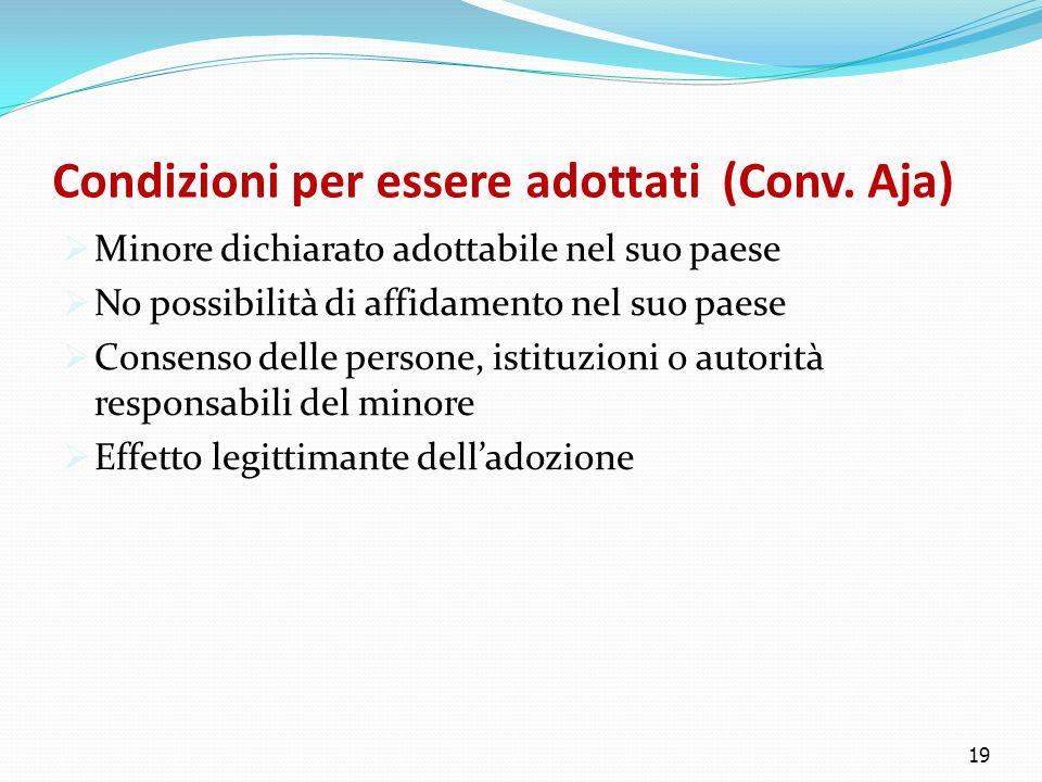 Condizioni per essere adottati (Conv. Aja)  Minore dichiarato adottabile nel suo paese  No possibilità di affidamento nel suo paese  Consenso delle