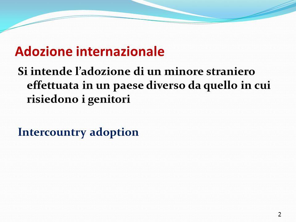 Adozione internazionale Si intende l'adozione di un minore straniero effettuata in un paese diverso da quello in cui risiedono i genitori Intercountry